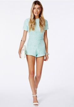 Misguided mint green backless playsuit
