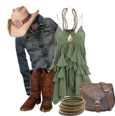 A fashion look from July 2012 featuring Isabel Marant dresses, Abercrombie & Fitch jackets and Durango boots. Browse and shop related looks. Country Style Outfits, Country Wear, Country Fashion, Pretty Outfits, Cool Outfits, Summer Outfits, Casual Outfits, Birthday Outfit For Women, Girl Fashion