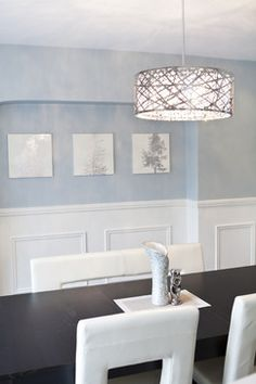 Beautiful white and light blue dining room