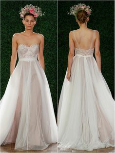 Love Marley by Watters; Penelope style 53707 Ivory, lace motifs on bodice with soft netting skirt - Fall 2014 Collection