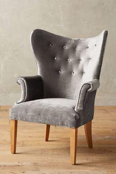 Anthropologie Slub Velvet Wingback Chair
