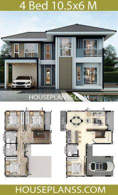 House Plans Idea with 4 Bedrooms - House Plans Sam House Plans Mansion, 4 Bedroom House Plans, Duplex House Plans, Craftsman House Plans, Dream House Plans, Small House Plans, House Floor Plans, Two Story House Design, 2 Storey House Design