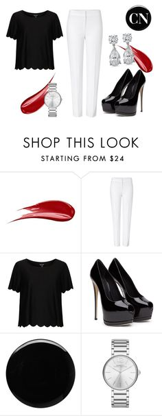 """Black but white"" by cielonewton on Polyvore featuring Hourglass Cosmetics, ESCADA, Topshop, Deborah Lippmann and Marc by Marc Jacobs"