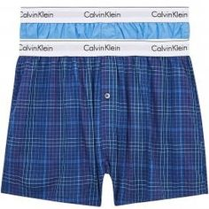Calvin Klein Modern Cotton Slim Fit Woven Boxer 2-Pack, Blue Burst/Somerset Plaid Calvin KleinModern Cotton Slim Fit Woven Boxer 2-Pack,Blue Burst/Somerset Plaid Slim fit soft cotton boxers, comfortable fit, classic length, with room for ease and freedom of movement. Single button fly Calvin Klein signature logo stretch waistband for a Modern body-defining fit 100% Cotton