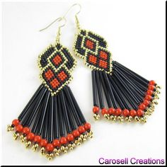 Lovely Senorita Spanish Seed Beaded Dangle Earrings TAGS - Jewelry, Earrings, Beaded, shoulder duster, glass, seed beads, red, black, gold, carosell creations, diamond, fringe, chic, spanish, mexican, bugle, acrylic, ladies, pierced, accessories, holiday, gift idea, weaved, woven, gypsy, bohemian, bling, sexy, trendy, fashion, etsy, hand made