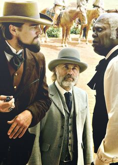 Leonardo DiCaprio as Calvin Candie, Christoph Waltz as Dr. King Schultz & Samuel L. Jackson as Stephen - Django Unchained #film #movie #melanin black character