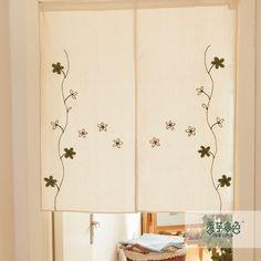 Japanse stijl borduurwerk handgemaakte rustieke semi schaduw gordijn deur gordijn keuken gratis verzending in van op Aliexpress.com
