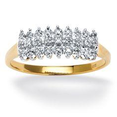 Palm Beach Jewelry PalmBeach 1/7 TCW Round Diamond Peak Ring in 18k Gold over Sterling Silver