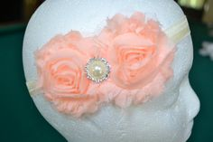 peach shabby chic rose flowers on a headband by creatingwithni