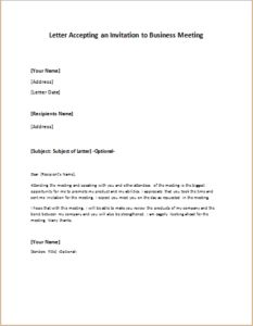 Letter Accepting An Invitation To Business Meeting DOWNLOAD At  Http://writeletter2.com
