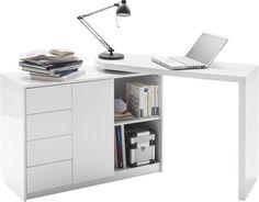 Dieser Schreibtisch im weißen Hochglanz-Chic ist an jeden Raum anpassbar: Möglich macht's die Kombination aus Sideboard und schwenkbarer Tischplatte. Am Fuß der Platte sind versteckte Rollen angebracht. Diese machen ein Verstellen besonders leicht. Dank der 4 Schubladen und verschiedener Staufächer können Sie Ihre Utensilien bequem unterbringen. Ein flexibler Schreibtisch, an dem Sie in alle Richtungen denken können!