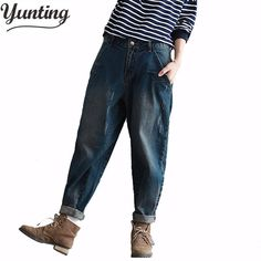 Winter Big Size Women Casual Trousers Denim Pants Loose Vaqueros Vintage Harem Boyfriend Jeans