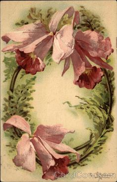 """O"" Vintage Floral Postcard by Catherine Klein"