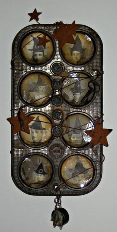 Altered Art - Vintage Muffin Tin .... how cool!! by barbara