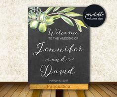 Welcome Sign Wedding, Printable Wedding Sign, Olive Wedding Welcome Sign, Bridal Shower Welcome Sign, Welcome Wedding Sign Olive Branch, Wedding Reception - pinned by pin4etsy.com