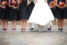 Almost exactly what Im thinking, bridesmaids in Converse of their color....making a rainbow (: