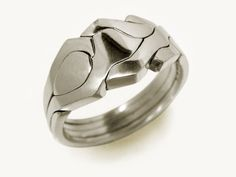 ROBOT - Unique Puzzle Rings by PuzzleRingMaker - Sterling Silver - 4 Band