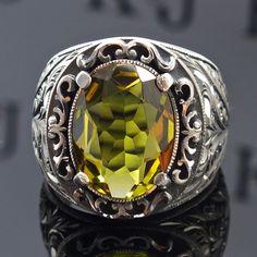 925 Sterling Silver men's ring with amazing color changing Diaspore unique item #KaraJewels #Unique
