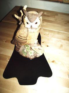 Vintage Barn Owl Figurine Statue Taiwan Porcelain Tree Log Branch 10inch signed