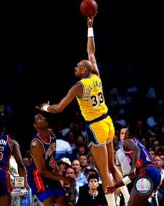 """Kareem Abdul-Jabbar - All-time points leader shooting the """"skyhook"""" - he is the sole reason I became a fan of basketball - I LOVED watching him play!"""