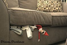 So that's where all the socks go!! Naughty little elf ;p Blossom Bunkhouse has 101 Ideas for this mischievous little guy!!  http://blossombunkhouse.com/2011/11/08/101-elf-on-the-shelf-ideas-2/