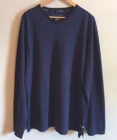 TOMMY HILFIGER Men Sweater Size L Striped Navy Blue V-Neck Long Sleeve Winter #TommyHilfiger #PoloRugby