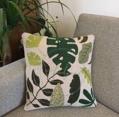 Punch needle leaf cushion Leaves punch needle pillow – Rug making Needle Cushion, Crochet Cushion Cover, Crochet Cushions, Embroidered Cushions, Punch Needle Patterns, Stitch Patterns, Crochet Baby Boots, Baby Pillows, Punch Art