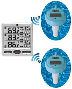 Ambient Weather Wireless Floating Pool and Spa Thermometer with Two Remote Sensors Weather Instruments, Pool Accessories, Wireless Speakers, Remote, Channel, Spa, Lights, 5 Seconds