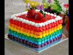Simple Eggless Rainbow cake recipe with Rainbow frosting Más Creative Cake Decorating, Cake Decorating Techniques, Cake Decorating Tutorials, Creative Cakes, Decorating Ideas, Cakes To Make, How To Make Cake, Rainbow Layer Cakes, Rainbow Frosting