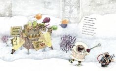 Pauline and John-John advertising their lemonade stand in Lemonade in Winter by Emily Jenkins. Art by G. Brian Karas.