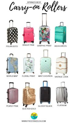 Spring's best carry-on rolling luggage, from bright, graphic prints to girly florals. Pin me to find your next carry-on!