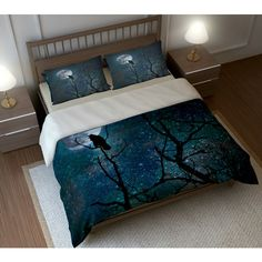 Gothic Bedding Duvet Comforter Cover Set Raven Crow Tree Moon Night... (150 CAD) ❤ liked on Polyvore featuring home, bed & bath, bedding, duvet covers, dark olive, home & living, twin duvet, bird duvet, queen pillow shams and queen sham