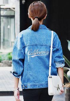"""California""  Embroidered Loose Denim Jacket"