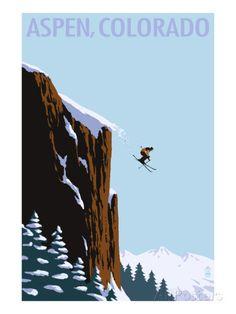 Skier Jumping - Aspen, Colorado Art par Lantern Press sur AllPosters.fr