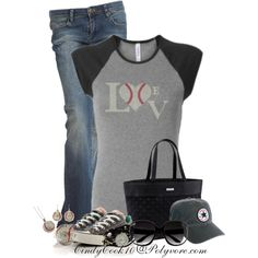 Baseball Mom Weekend by cindycook10 on Polyvore featuring BLANK, Converse, Vera Bradley and H&M