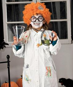Easy mad scientist costume. (Though I think the wig + face paint makes this a little too clownish.) #halloween