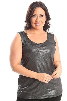 Vikki Vi Jersey Glamour Tank A great plus size piece for your holiday party.