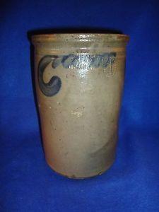 S. Bell & Son, Strasburg, Virginia Stoneware 1g Jar with 3 Comma Vines