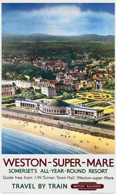 Weston-Super-Mare - Somerset's all-year round resort - - (Krogman) - Posters Uk, Train Posters, Railway Posters, British Travel, British Seaside, British Isles, Weston Super Mare, Visit Devon, Somerset England