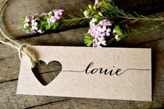 Specifications: La Pomme et la Pipes signature design rustic, unique and super chic heart name tags! Made from my trademark environmentally