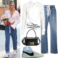 Bella Hadid was spotted leaving a photoshoot in Los Angeles wearing the Are You Am I Kaif Top ($269.00), Off-White Zip Detail Levi Jeans ($268.00), a Dior Dio(r)evolution Flap Bag (Not available online) and Nike x Off-White Sneakers (Not available online). You can find similar jeans for less at NastyGal ($40.00).