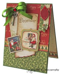 """Try this Place in Time """"A Happy Christmas to You"""" card with a free printable project sheet #graphic45 #projectsheets #tutorials"""