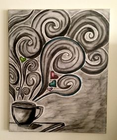 Coffee Canvas Art could bea good art in the kitchen. Can be done with charcoal pencil n powder