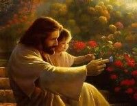 Precious in His Sight by Olsen. Our most popular image of Jesus with children. Showing toddler the wonder of His butterfly!
