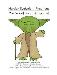 Classroom Freebies Too: Fern Smith's Go Yoda! Harder Equivalent Fractions Go Fish Card Game