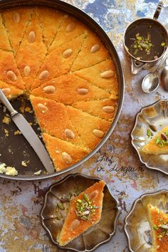 Middle Eastern food recipes A great recipe for 'Hareesa' (Middle Eastern semolina cake) by chef in disguise. Lebanese Desserts, Lebanese Recipes, Spicy Recipes, Indian Food Recipes, Sweet Recipes, Cooking Recipes, Tofu Recipes, Middle East Food, Middle Eastern Desserts