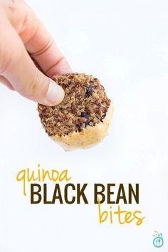Black Bean Quinoa Bites with Vegan Queso Dip