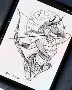 """Felipe Gonzalez (Phil) on Instagram: """"SAGITÁRIO ♐ A quarta arte dessa nossa saga do zodíaco! Amanhã tem escorpião. #tattoo #tatto #tattooarte #tattooartistmagazine…"""" Dark Art Drawings, Pencil Art Drawings, Art Drawings Sketches, Tattoo Sketches, Tattoo Drawings, Zodiac Art, Zodiac Signs, Totenkopf Tattoo, Family Tattoo Designs"""