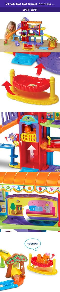 VTech Go! Go! Smart Animals Happy Paws Playland (Frustration Free Packaging). Play and explore the Go! Go! Smart Animals Happy Paws Playland by VTech. This exciting playland for pets has three light-up buttons at the top of the elevator that introduce time concepts, colors and play sing-along songs, melodies and fun phrases. Put the adorable SmartPoint cat in the elevator and move it up and down to trigger playful responses on each floor. Then, hop on the slide to travel back to the first...