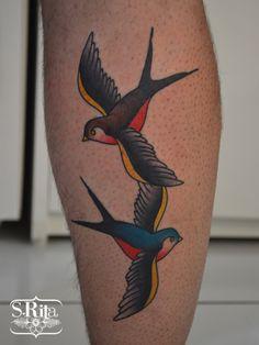 ~ Old School tattoo ~ swallow black & blue